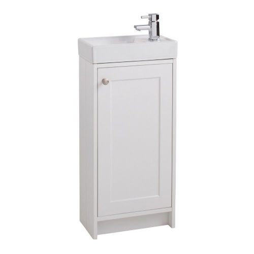 Traditional Single Door Floor Standing Vanity Unit & Basin - 1 Tap Hole